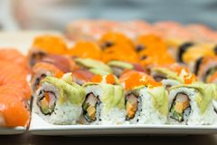 Sushi,japanese food on dish prepare for party,asia culture tradi Royalty Free Stock Photography