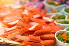 Sushi,japanese food on dish prepare for party,asia culture tradi Stock Photo