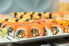 Sushi,japanese food on dish prepare for party,asia culture tradi Royalty Free Stock Photo