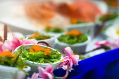Sushi,japanese food on dish prepare for party,asia culture tradi Stock Photos