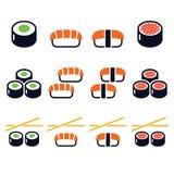 Sushi - Japanese food  icons set Royalty Free Stock Photos