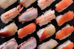 Sushi japanese food various different platter top view. Sushi japanese food platter top view Royalty Free Stock Images