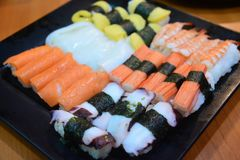 Sushi Japanese food in Resturant Royalty Free Stock Photo