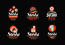 Sushi, rolls, Japanese food set of logos or labels. Vector illustration Stock Photography