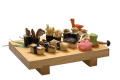 Sushi. Japanese Food set on Wood Plate , Isolate White Baclground royalty free stock photography