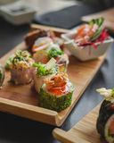 Sushi and Japanese Food on the table royalty free stock photography