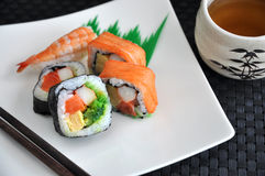 Sushi japanese food with tea Royalty Free Stock Photo