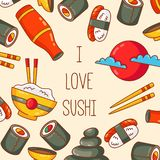 Sushi japanese food vector icons vector illustration
