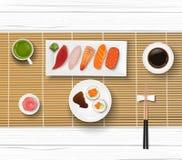 Sushi, Japanese food on wooden table background. Illustration of Sushi, Japanese food on wooden table background Royalty Free Stock Image