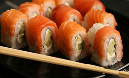 Sushi in japanese restaraunt Royalty Free Stock Photography