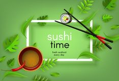 Sushi japanese seafood banner with chopsticks holding fresh roll, bowl with soy sauce and chili pepper and spice leaves. stock illustration