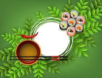 Sushi japanese seafood banner with set of fresh rolls, bowl with soy sauce, chopsticks and red chili pepper. royalty free illustration