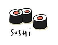 Sushi. Japanese Sushi, simple illustration, isolated Stock Photo