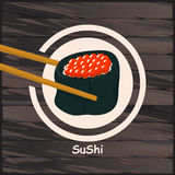 Sushi, japanisches Lebensmittel auf einem hölzernen Hintergrund Stockfotos