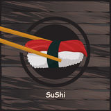 Sushi, japanisches Lebensmittel auf einem hölzernen Hintergrund Lizenzfreie Stockfotografie
