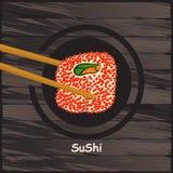 Sushi, japanisches Lebensmittel auf einem hölzernen Hintergrund Stockbild