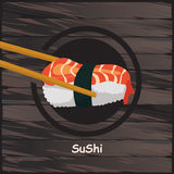 Sushi, japanisches Lebensmittel auf einem hölzernen Hintergrund Lizenzfreie Stockbilder