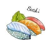 Sushi Japans voedsel Geïsoleerde watercolor Royalty-vrije Stock Fotografie