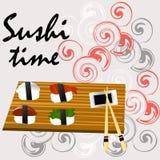 Sushi, Japans voedsel op een houten achtergrond stock illustratie