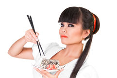 Sushi japonés de la consumición fotos de archivo