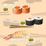 Sushi japonés de la silueta de la cocina del modelo inconsútil stock de ilustración