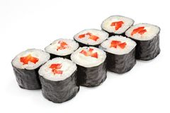 Sushi japonês do marisco, rolo em um branco, isolado Foto de Stock