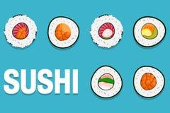 Sushi Japon avec deux bâtons d'isolement Conception plate de style de logo de sushi Restaurant japonais, nourriture asiatique Image stock