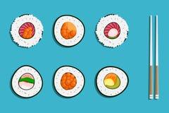 Sushi Japon avec deux bâtons d'isolement Conception plate de style de logo de sushi Restaurant japonais, nourriture asiatique Photos stock