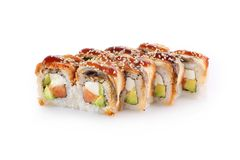 Sushi Kanada på en vit bakgrund Royaltyfri Fotografi