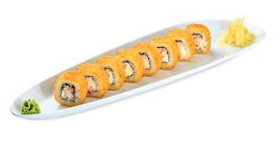 Sushi Kani Fried Roll plate isolated on white Royalty Free Stock Photos