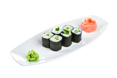 Sushi (Kappa maki roll) on a white background Royalty Free Stock Photos