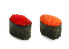 Sushi with kaviar. Some japanische sushi on a white background Royalty Free Stock Photography