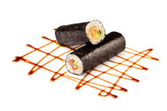 Sushi or kimbap with seafood, rice and vegetables seaweed rolls Royalty Free Stock Photography