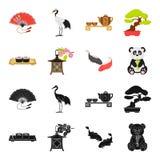 Sushi, koi fish, Japanese lantern, panda.Japan set collection icons in black,cartoon style vector symbol stock. Illustration Stock Photos