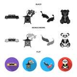 Sushi, koi fish, Japanese lantern, panda.Japan set collection icons in black, flat, monochrome style vector symbol stock. Illustration vector illustration