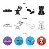 Sushi, koi fish, Japanese lantern, panda.Japan set collection icons in black,flat,outline style vector symbol stock. Illustration Royalty Free Stock Photography