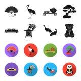 Sushi, koi fish, Japanese lantern, panda.Japan set collection icons in black,flet style vector symbol stock illustration.  Royalty Free Stock Photos