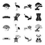 Sushi, koi fish, Japanese lantern, panda.Japan set collection icons in black,monochrome style vector symbol stock. Illustration Stock Photography