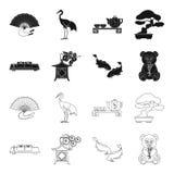 Sushi, koi fish, Japanese lantern, panda.Japan set collection icons in black,outline style vector symbol stock. Illustration Royalty Free Stock Photo