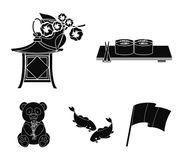 Sushi, koi fish, Japanese lantern, panda.Japan set collection icons in black style vector symbol stock illustration web. Sushi, koi fish, Japanese lantern Royalty Free Stock Image