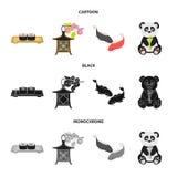 Sushi, koi fish, Japanese lantern, panda.Japan set collection icons in cartoon,black,monochrome style vector symbol. Stock illustration stock illustration