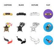 Sushi, koi fish, Japanese lantern, panda.Japan set collection icons in cartoon,black,outline,flat style vector symbol. Stock illustration stock illustration