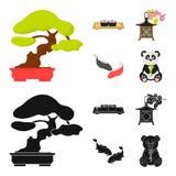 Sushi, koi fish, Japanese lantern, panda.Japan set collection icons in cartoon,black style vector symbol stock. Illustration royalty free illustration