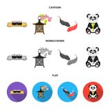 Sushi, koi fish, Japanese lantern, panda.Japan set collection icons in cartoon,flat,monochrome style vector symbol stock. Illustration stock illustration