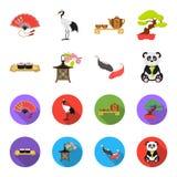 Sushi, koi fish, Japanese lantern, panda.Japan set collection icons in cartoon,flat style vector symbol stock. Illustration Royalty Free Stock Image