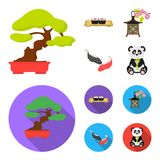 Sushi, koi fish, Japanese lantern, panda.Japan set collection icons in cartoon,flat style vector symbol stock. Illustration stock illustration