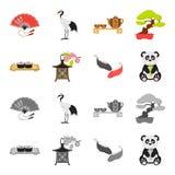 Sushi, koi fish, Japanese lantern, panda.Japan set collection icons in cartoon,monochrome style vector symbol stock. Illustration Stock Photo