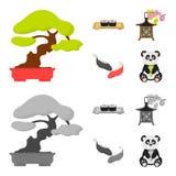 Sushi, koi fish, Japanese lantern, panda.Japan set collection icons in cartoon,monochrome style vector symbol stock. Illustration stock illustration