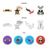 Sushi, koi fish, Japanese lantern, panda.Japan set collection icons in cartoon,outline,flat style vector symbol stock. Illustration stock illustration