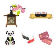 Sushi, koi fish, Japanese lantern, panda.Japan set collection icons in cartoon style vector symbol stock illustration.  Stock Photography